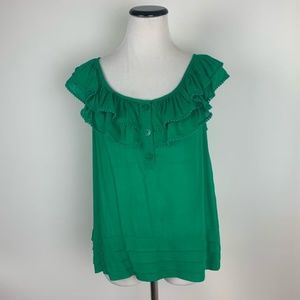 Anthropologie Odille Ruffle Top Blouse Kelly Green